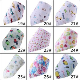 Wholesale Organic Bandana Scarf Double Layers Cotton Kids Baby Bibs Towel Bandanas Triangle Saliva Burp Infant Cartoon Toddler