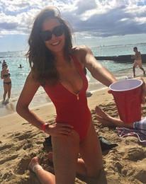 Wholesale Sexy Women One Piece Swimsuit Open Back Deep V Spa Bikini Swimwear Bodysuit Red High Waist Zipper Bathing Suit