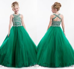 2016 Hunter Green Halter Neck Girl's Pageant Dresses Crisis Cross Back Major Beading Sleeveless Cute Toddler Long Baby Flower Girl's Dresses