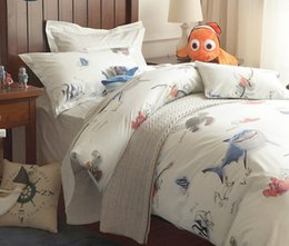 Wholesale finding Nemo Children the great barrier reef Baby boy white Cartoon blue character Bedding Set Duvet Quilt cover