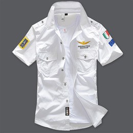 Wholesale New fashion military air force uniform short sleeve shirts men dress shirt