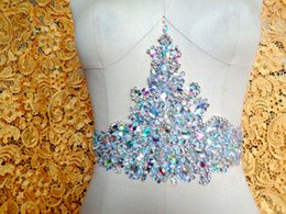 Pure hand made dazzling clear AB colour sew on Rhinestones applique crystals patches 36*18cm DIY dress accessory