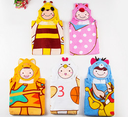 5 Styles Thicken Cotton Kids Bathrobes Winter Hooded Baby Girl Baby Boy Bath Robe Cartoon Animals Children Beach Towels