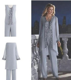 Mother Of The Bride Groom 3 Piece Pant Suit Silver Chiffon Beach Wedding Mothers Dress Long Sleeves Beads Formal Evening Wear