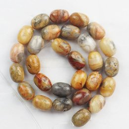 1 strand 14x10mm Yellow Crazy Lace Agate Big Barrel bead loose bead 15.5 inch
