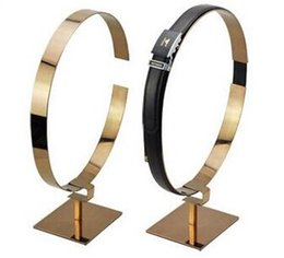 Wholesale Gold silvery Boutique Man garment store belt showing display rack stand belt holder to show belt