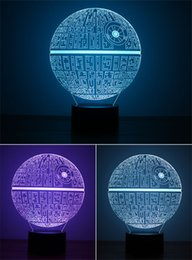 Wholesale Acrylic Colorful USB Universe War Death Star Nightlight Family Office LED Table Lamp Child Christmas Birthday Gift D TD107