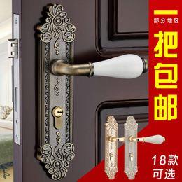 Wholesale Eagle Shield European antique copper bedroom door lock lock door lock handle lock carved ceramic panel