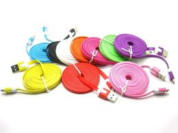 Wholesale 1M M M Length Flexiable Micro Flat Data Charge Cord USB Charging Data Cable for Samsung Android I phone s s plus Smartphone