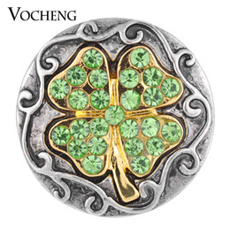NOOSA 18mm Crystal Button Four Leaf Clover 3 Colors Lucky Snap Jewelry VOCHENG Vn-1085