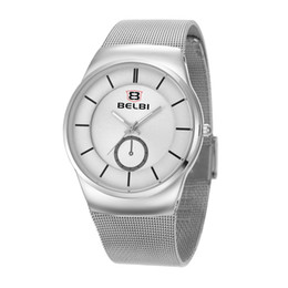 Wholesale Fashion Men s Simple Waterproof Watches Round Stainless Steel Analog Male Wristwatches Leisure Bicycle White Watch Brand Belbi