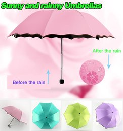 Wholesale New Arrivals Sunny and Rainy umbrellas Optional Six color Canopy can change pattern with Water cm high quality summer
