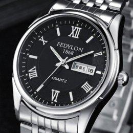 ¡Mejor calidad! 3 colores cuarzo Hombre de acero del reloj de manera impermeable resistente a los arañazos calendario Hombres Doble pulsera casuales F470 desde mejores relojes de moda de calidad fabricantes