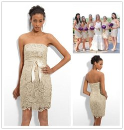 Wholesale Short Floral Lace Bridesmaid Dresses by Adrianna Papell Sheath Strapless Short Gold Bridesmaid Dress with Ribbon Lace Cocktail Dresses