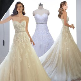 Wholesale Sweetheart Light Champagne Lace Applique Wedding Dress With Color Beading Sash Bridal Gowns In Stock Robe De Mariage