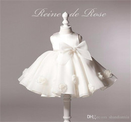 Wholesale Cute Big Bow Roses Flower Girl Dress Evening Party Sundress for Infant Toddler Girls Birthday Christening Baptism Christmas Costumes M