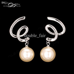 Concise Punk Style Shell-Pearl Beads Drop Earrings 18K Platinum Plated Fashion Brand Jewelry For Women Wholesale DFE495