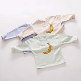Wholesale Banana pattern cotton T shirt Long sleeve pullovers loose tops for baby girls boys kids children autumn clothing