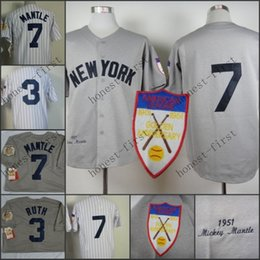 Wholesale 2016 Babe Ruth Jersey Throwback Mickey Mantle Jerseys Grey th Patch White Pinstripe