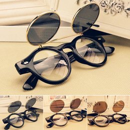 Wholesale Fashion Retro Vintage Punk Styles s Men Women Sunglasses Sun glasses Flip Up Cyber Round Goggles Glasses GX14