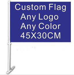 Wholesale 30x45CM car window flag custom flag any color any LOGO quality polyester with flag pole