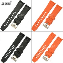 Black Silicone Rubber Watch Band 20mm 22mm Smooth Orange Strap ZLIMSN Brand Bracelet Curved end
