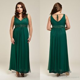 2016 Plus Size Mother Of Bride Dresses Green Ankle Length V Neck Zipper Ruffles Chiffon 2015 Evening Party Gowns Sashes Beads Top Selling