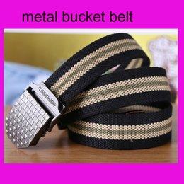 Wholesale Retail pc belt solid metal bucket luxury designer khaki amy green stripes leather Package edge belt for men casual waist belts
