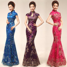 Wholesale Cheongsam Evening Dresses Colors Flower Embroidered Sequins Mermaid Fish Tail Gown Lace Beading Qipao Cheongsam Prom Dresses YYF