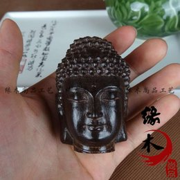 Wholesale Sell like hot cakes Vietnam aloes wood carving handicraft Buddha had strange statue handle antiques collectables autograph