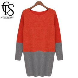 Wholesale New Fashion Victoria Beckham Dress Autumn Winter Women Long Sleeve Knit Dress Plus Size Casual Loose T Shirt Dress