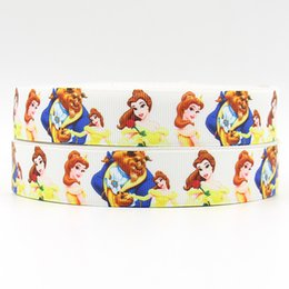ribbon 7 8inch 22mm 160320018 beauty beast design printed grosgrain ribbon 50yards roll for sport hair tie free shipping