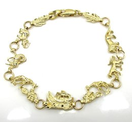 Wholesale 7 Grams mm quot Ladies k Yellow Real Gold Noahs Ark Animal Bracelet