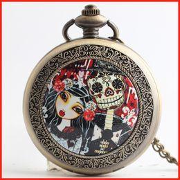 Pesadilla Antes de bolsillo antiguo de Navidad relojes collares relojes de cuarzo reloj medallón flip mujeres mujeres niños regalo de Navidad 230211 desde mujer del reloj del collar proveedores