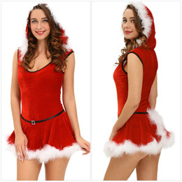 Women's Christmas Red Santa Claus Skirt With Hat Set, Santa Claus Theme Role Cosplay Costume