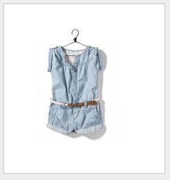 2016 Summer New Baby Girls Denim Jumpsuit Skirt Children Cowboy Pants Shorts With Belt Kids Conjoined Pants Cute Girl One-Piece Romper