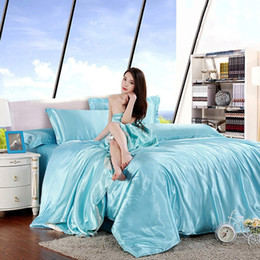 Wholesale Trendy Classic Imitate Silk Bedding Set Solid Color Duvet Cover Set Artificial Silk Bedclothes Queen King Size JA0138 salebags