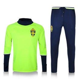 Vêtements en gros personnalisé 16-17 Suède du football national équipe de foot jogging pantalons de la Suède nationale de soccer équipe de service de qualité de service à partir de services de l'équipe fournisseurs
