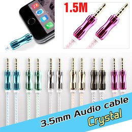 3.5mm crystal metal connector AUX Audio usb cable Cables Male To Male Stereo Car Extension Audio Cable For MP3 smart phones