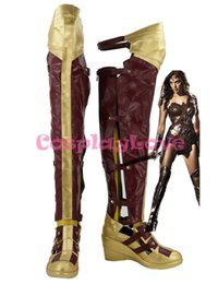 Wholesale Newest Custom Made American Movie Batman v Superman Dawn of Justice Diana Prince Wonder Cosplay Shoes Long Boots For Halloween