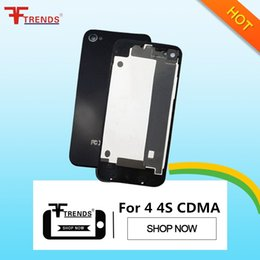 Back Glass Battery Housing Door Back Cover Replacement Part with Flash Diffuser for iPhone 4 4 CDMA 4S Black White 100pcs lot
