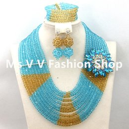 2018 Latest 10 rows sky blue Gold African Beads Jewelry Set for Wedding Handmade Nigerian crystal Beaded necklace Set Free Shipping