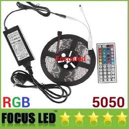 RGB Kit 5050 Led Strips Light 5M 300LEDs Flexible Led Ribbon Lights Waterproof + 44Keys IR Remote Control + 12V 6A Power Supply