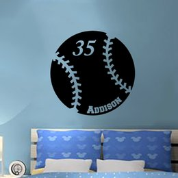 Wholesale Personalized Name Baseball Vinyl Wall Decal Sticker Room Home Decor Art DIY