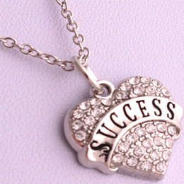 New Arrival Hot Selling rhodium plated zinc studded with sparkling crystals SUCCESS heart pendant link chain necklace