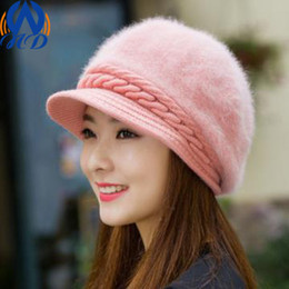 Wholesale Fashion Cute Women Knitted Caps Twist Pattern Women Winter Rabit Hair Hat Sweater Skullies Beanie Hats For Girls Drop Shipping MZ0024