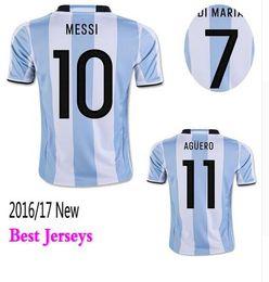 Wholesale 2016 Argentina Soccer Jerseys Uniforms Home White MESSI Argentine Football Shirt DI MARIA AGUERO KUN AGUERO