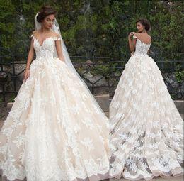 Wholesale vestidos de novia Vintage A Line Wedding Dresses Sheer Nude Crew Neckline Chapel Train Lace Bridal Gowns Inspired by Millanova Barbara