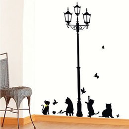 Wholesale Ancient Lamp Cats and Birds Wall Sticker Two Size Wall Mural Nursery Home Decor Room Kids Decals Wallpaper Black Color by DHL