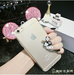 Wholesale Clear Silicone Ears - samsung galaxy grand priem j120 j510 j710 a310 a510 a710 Bling phone case Mickey Ears luxury Diamond Soft clear TPU Case with Lanyard